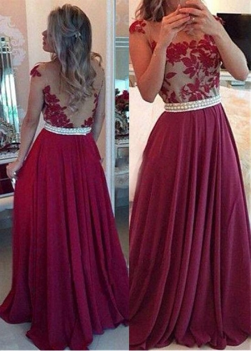 Junoesque Tulle & Chiffon Jewel Neckline Floor-length A-line Prom Dress With Lace Appliques & Beadings