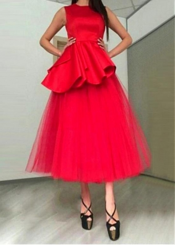 Beautiful Satin & Tulle Jewel Neckline Tea-length A-line Prom Dress