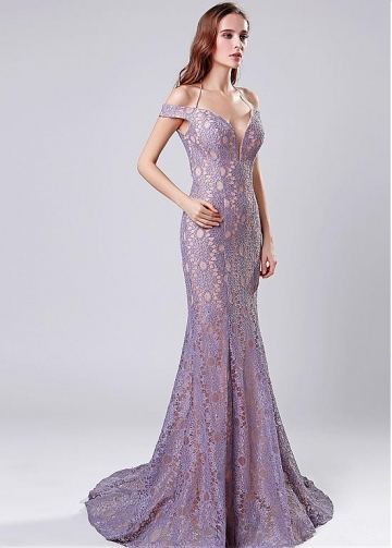 Graceful Lace Off-the-shoulder Neckline Mermaid Evening Dress