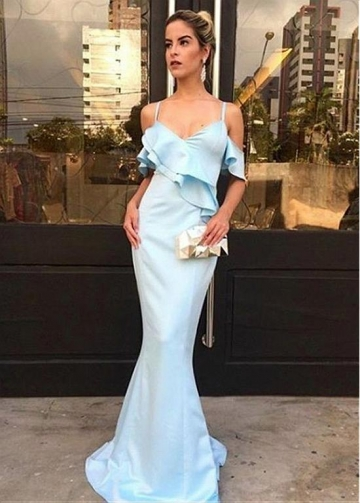 Beautiful Satin Spaghetti Straps Neckline Sheath/Column Prom Dress