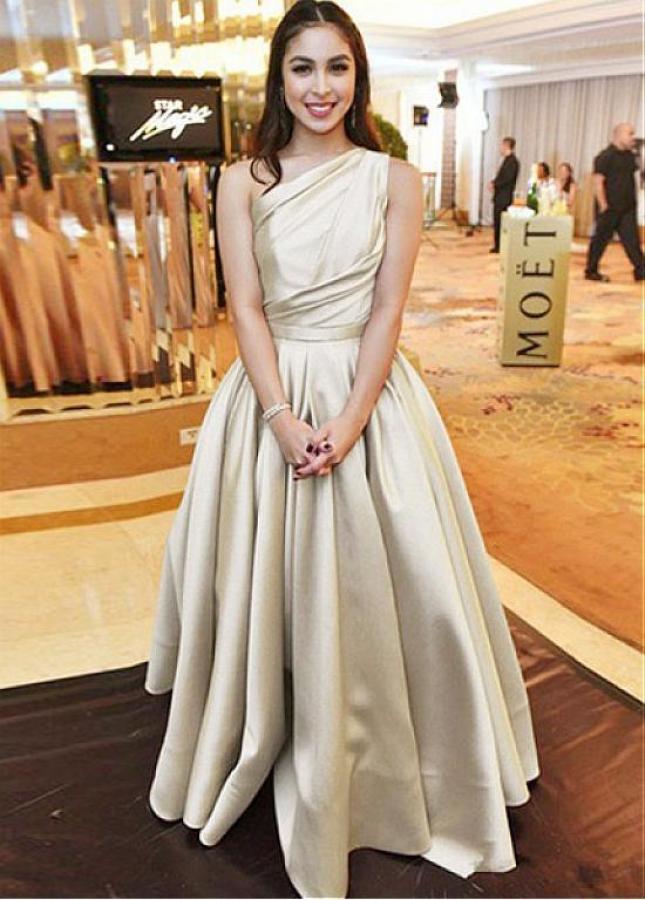 Graceful Satin One-shoulder Neckline A-line Evening Dress