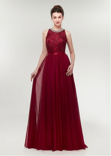 Wonderful Chiffon & Lace Jewel Neckline A-line Prom Dress With Beadings