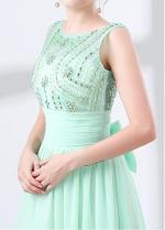 Chiffon Jewel Neckline A-line Prom Dress With Beadings & Bowknot