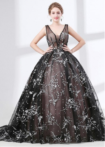 Beautiful Organza V-neck Neckline Black Ball Gown Evening Dress