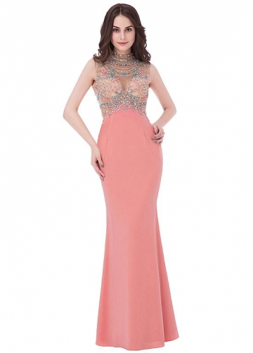 Fashionable Jersey High Collar Neckline Sheath/Column Evening Dress With Beadings