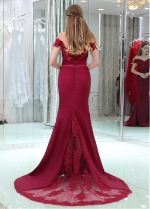 Marvelous Satin Off-the-shoulder Neckline Floor-length Mermaid Evening / Bridesmaid Dresses