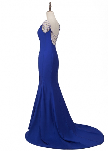 Chic Stretch Satin V-neck Neckline Floor-length Mermaid Evening Dresses With Beading