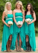 Chic Chiffon Sweetheart Neckline A-line Bridesmaid Dresses With Beadings
