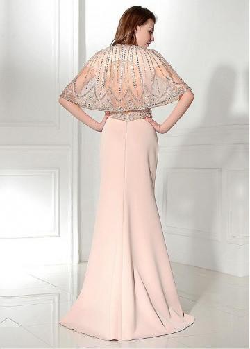 Elegant Tulle & Satin Jewel Neckline Sheath Evening Dresses With Beadings