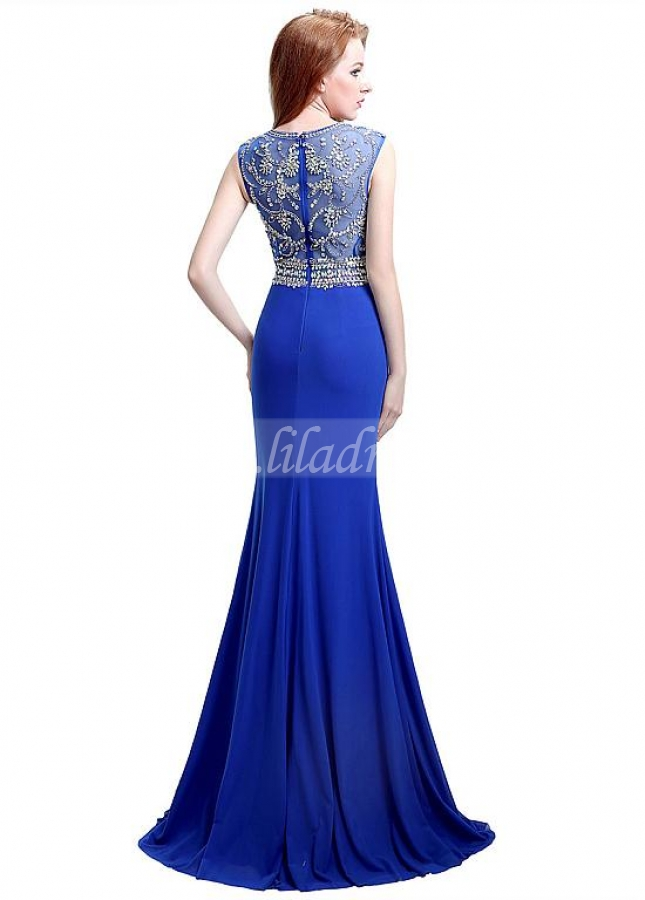 Alluring Jewel Neckline Sheath Long Evening Dresses With Slit & Beadings