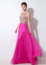 Exquisite Tulle & Chiffon Scoop Neckline See-through A-Line Prom Dresses With Beadings