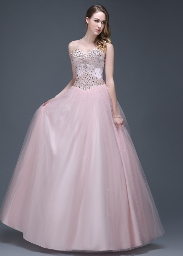 Beautiful Tulle Sweetheart Neckline Full-length Ball Gown Prom Dresses