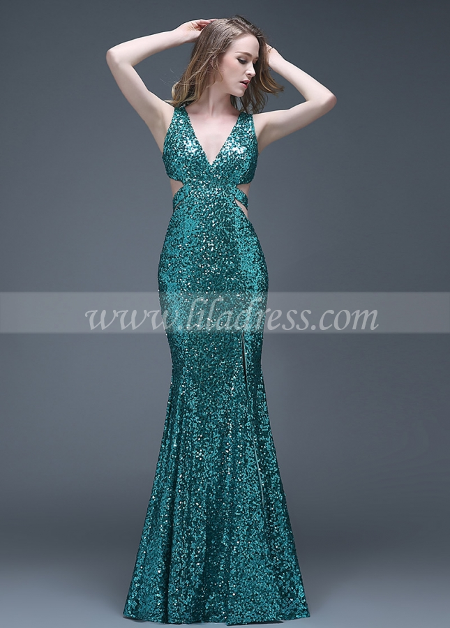 Shining Sequin Lace V-neck Neckline Full-length Mermaid Evening Dresses