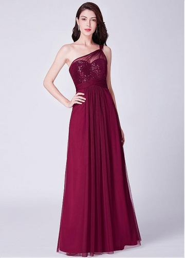 Wonderful Tulle & Sequin Lace One Shoulder Neckline Full-length A-line Bridesmaid Dresses