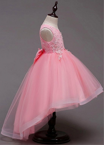 Delicate Tulle & Lace Jewel Neckline Hi-lo Ball Gown Flower Girl Dress With Lace Appliques & Beadings