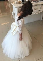 Cute Tulle Jewel Neckline Ball Gown Flower Girl Dresses With Lace Appliques & Bowknot