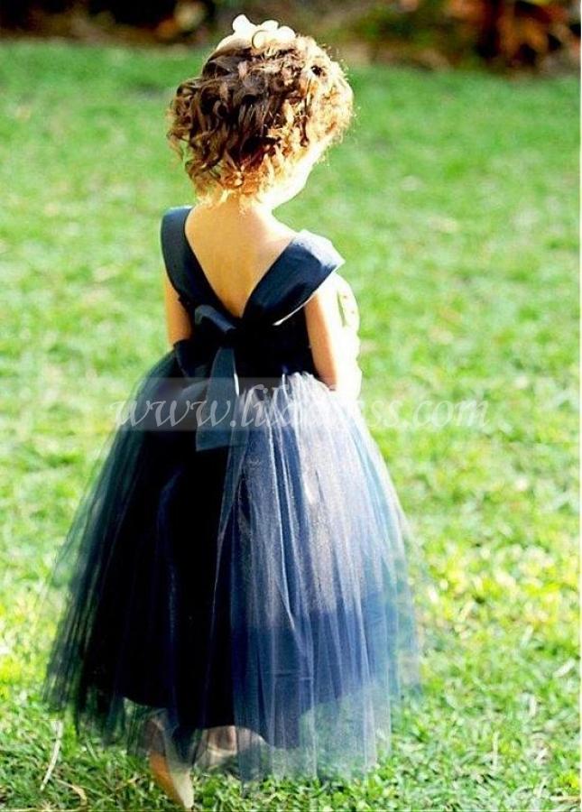 Lovely Satin & Tulle Sweetheart Neckline Ball Gown Flower Girl Dresses With Belt