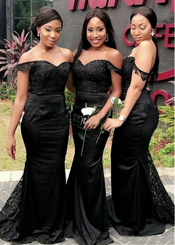 Beautiful Lace & Satin Off-the-shoulder Neckline Full-length Mermaid Bridesmaid Dresses