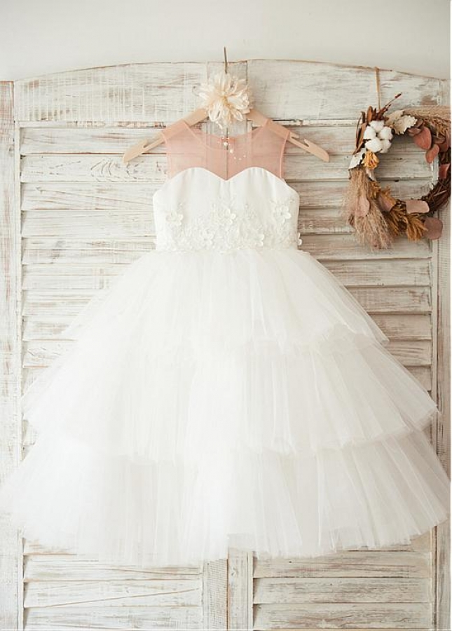 Beautiful Tulle Scoop Neckline Tea-length Ball Gown Flower Girl Dresses With Lace Appliques & Beadings