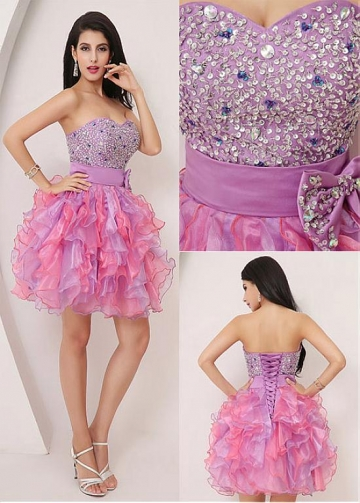 Attractive Organza Sweetheart Neckline Short Ball Gown Homecoming Dresses With Beadings