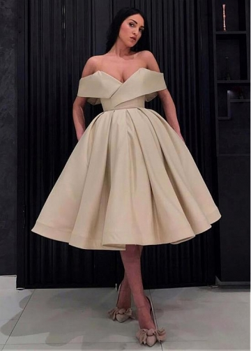 Fabulous Taffeta Off-the-shoulder Neckline Knee-length Ball Gown Homecoming Dresses