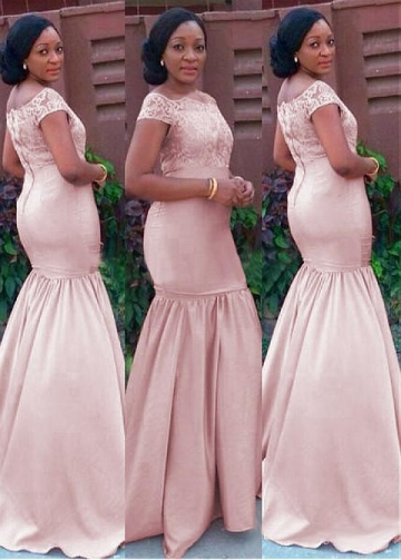 Beautiful Lace & Satin Bateau Neckline Full-length Mermaid Bridesmaid Dresses with Cap Sleeves
