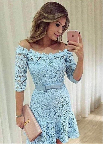High Quality Lace Off-the-shoulder Neckline 3/4 Length Sleeves Short Homecoming Dress With Bowknot