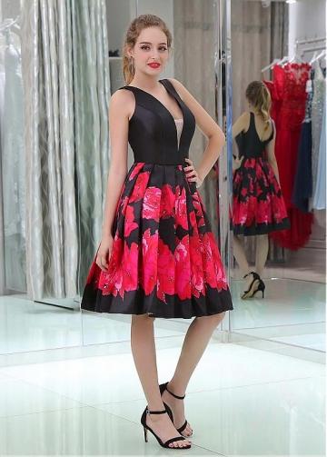 Graceful Satin V-neck Neckline Knee-length A-line Print Homecoming Dresses