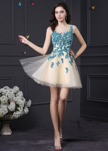 Chic Tulle & Satin Jewel Neckline A-Line Homecoming Dresses