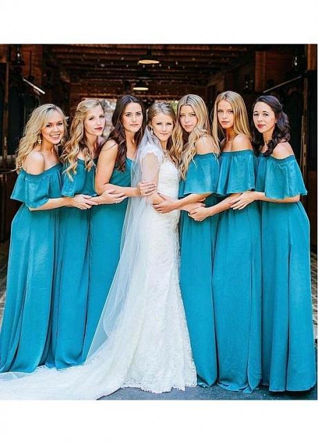 Delicate Chiffon Off-the-shoulder Neckline Floor-length A-line Bridesmaid Dresses