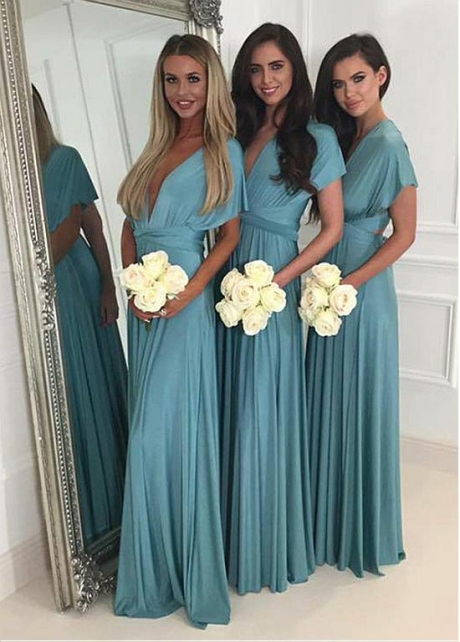 Elegant V-neck Neckline Full-length A-line Bridesmaid Dress