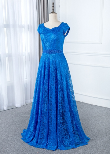 Elegant Lace Scoop Neckline A-line Mother Of The Bride Dresses With Beadings