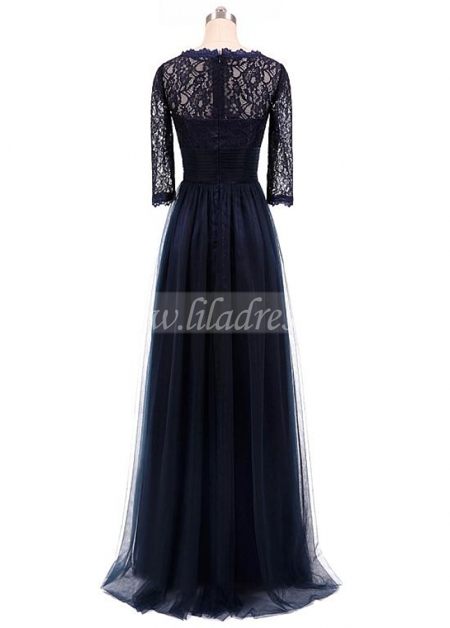 Glamorous Tulle & Lace V-neck Neckline 3/4 Length Sleeves A-line Mother Of The Bride Dress
