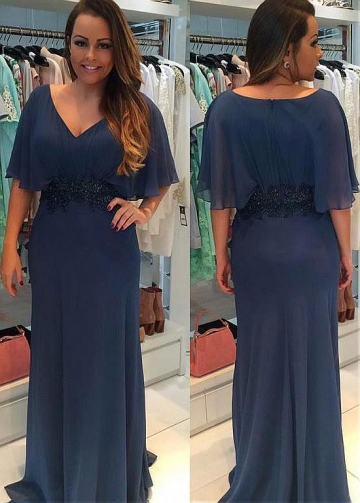 Wonderful Chiffon V-neck Neckline Sheath/Column Mother Of The Bride Dress With Beaded Lace Appliques
