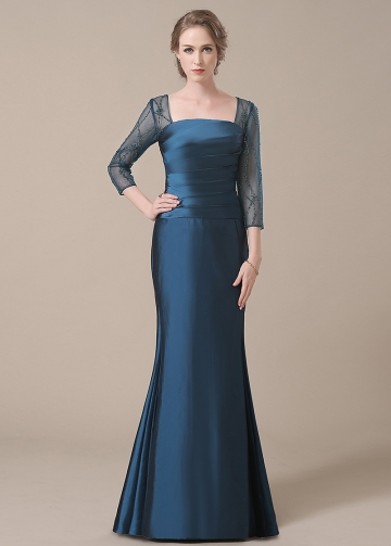 Chic Taffeta Square Neckline Full-length Mermaid Mother of The Bride Dresses