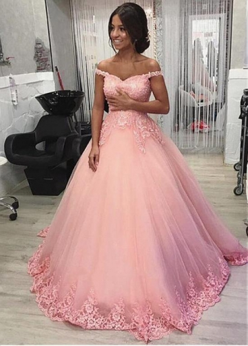 Luxury Tulle Off-the-shoulder Neckline Floor-length A-line Prom Dresses With Beaded Lace Appliques