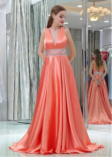 Gorgeous Satin V-neck Neckline Floor-length A-line Prom Dresses With Beadings