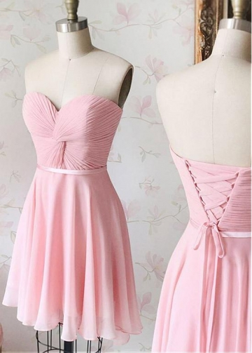Fabulous Chiffon Sweetheart Neckline Short A-line Bridesmaid Dress With Pleats & Belt