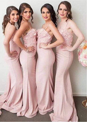 Attractive Pink Satin Spaghetti Straps Neckline Full Length Mermaid Bridesmaid Dress
