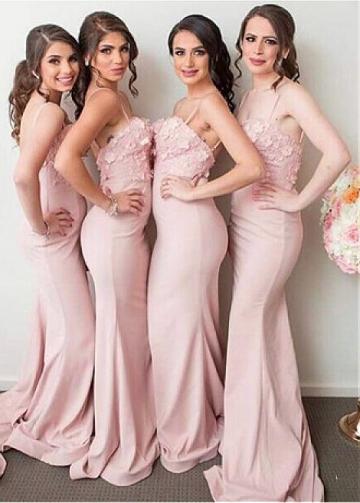 Attractive Pink Satin Spaghetti Straps Neckline Full Length Mermaid Bridesmaid Dress