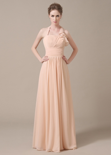 Stunning Chiffon Halter Neckline Full-length A-line Bridesmaid Dresses