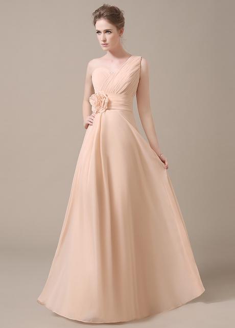 Elegant Chiffon One Shoulder Neckline Full-length A-line Bridesmaid Dresses