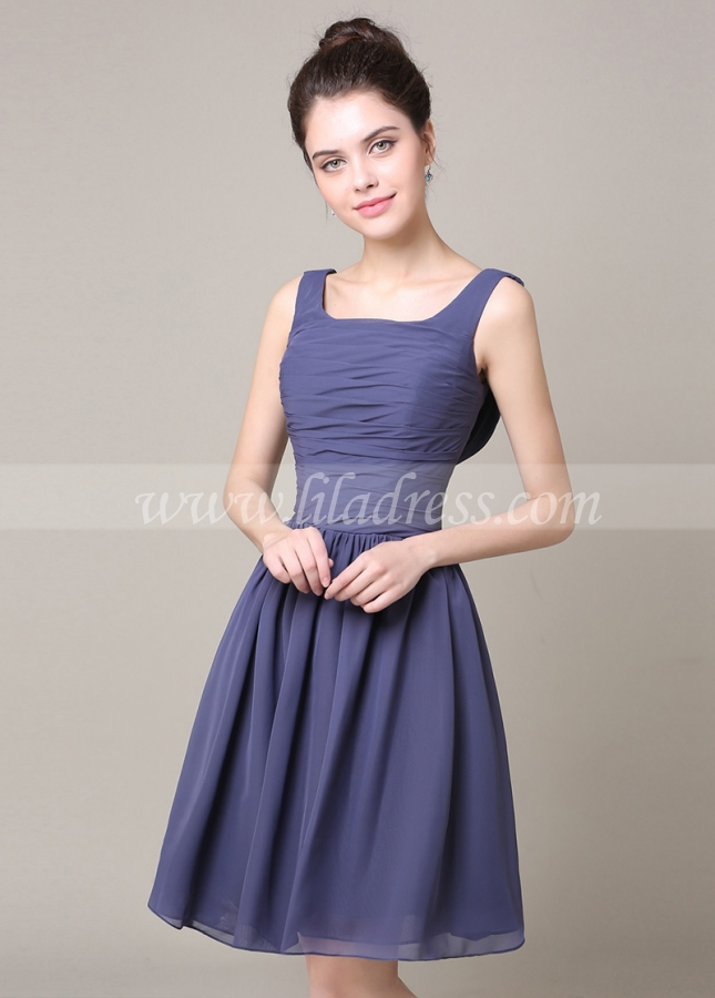 Fabulous Chiffon Scoop Neckline Short A-line Bridesmaid Dress