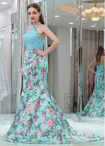 Fashionable Halter Neckline Two-piece Mermaid Prom Dresses