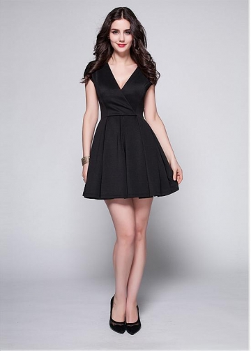 Black Satin V-neck Neckline A-line Cocktail Dress