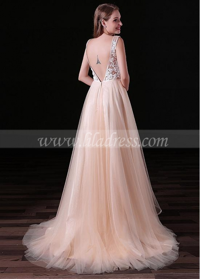Exquisite Tulle V-neck Neckline Backless Floor-length A-line Prom Dresses With Beaded Lace Appliques