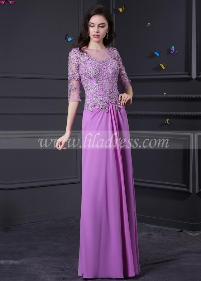 Elegant Chiffon and Tulle Bateau Neckline A-Line Prom Dresses