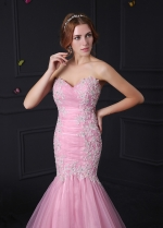 Glamorous Organza & Stretch Satin Sweetheart Neckline Mermaid Prom Dresses