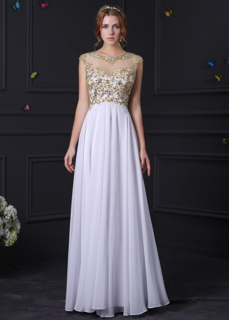 Junoesque Tulle & Chiffon Bateau Neckline A-Line Prom Dresses