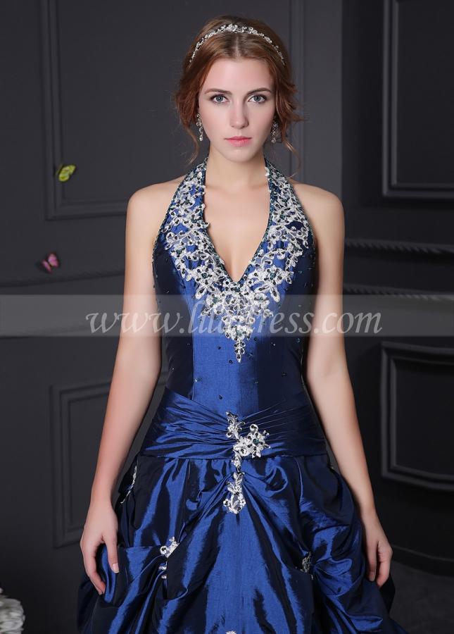 Alluring Taffeta Halter Neckline A-Line Prom Dresses